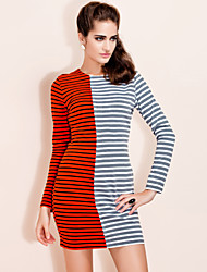 TS Contrast Color Stripe Bodycon Jersey Dress