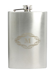 Gift Groomsman Personalized Stainless Steel 9-oz Flask - Initial