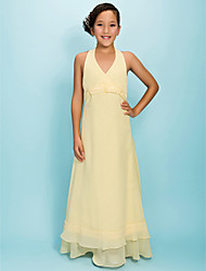 A-Line Princess Halter V-neck Floor Length Chiffon Junior Bridesmaid Dress with Beading