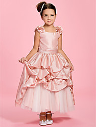 A-line Princess Ankle-length Flower Girl Dress - Taffeta Bateau with Flower(s) Pick Up Skirt Sash / Ribbon Ruching
