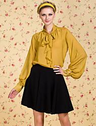 TS VINTAGE Check Pattern Puff Sleeve Bow Chiffon Shirt