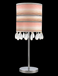 Comtemporary Crystal Table Light with Colourful Lampshade