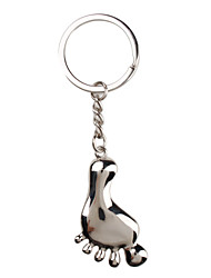 Metal Silver Foot Keychain