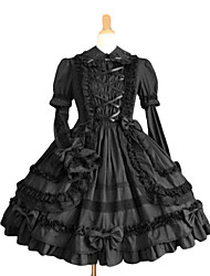 Long Sleeve Knee-length Black Terylene Sweet Lolita Dress with Crossed Ribbon