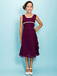 Tea-length Chiffon Junior Bridesmaid Dress A-line Square Natural with Sash / Ribbon Side Draping