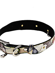 Dog Collar Adjustable/Retractable / Rhinestone Brown PU Leather