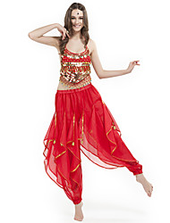 Belly Dance Outfits Women's Performance Chiffon Beading / Coins Sleeveless Natural