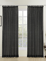 Two Panels Fashion Girl Black Shining Sheer Curtains Drapes