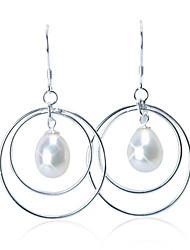 Charming Sterling Silber Fresh Pearl Drop Earrings