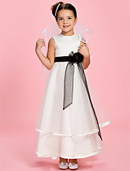 A-line Princess Ankle-length Flower Girl Dress - Satin Tulle Jewel with Flower(s) Sash / Ribbon