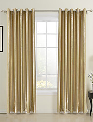 Neoclassical Two Panels Floral  Botanical Gold Dining Room Polyester Curtains Drapes