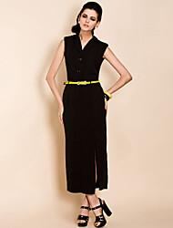 TS Constract Color Belt Sleeveless Maxi Dress