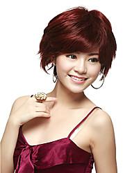 Capless Short Straight Red 100% Human Hair Wig
