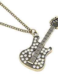 Antique Copper Guitar Zircon Necklace