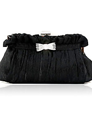 Women Satin Wedding Evening Bag Black / Fuchsia