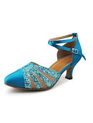 cetim das mulheres / espumante brilho de glitter tira no tornozelo modernos sapatos de dança / salão de festas (cores mais)