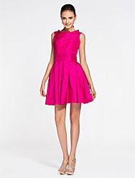 Lanting Short/Mini Taffeta Bridesmaid Dress - Fuchsia Plus Sizes / Petite A-line / Princess Bateau
