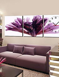 Modern Floral Purple Wall Clock in Canvas 3pcs