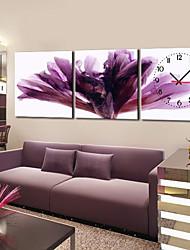 Современные настенные часы из 3 холстов с изображением фиолетового цветка