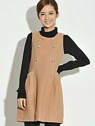 Women's Solid Brown Dress , Casual Round Neck Sleeveless Button