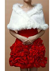 Delicate Faux Fur Wedding / Evening Wraps / Schals mit Blumen Pin