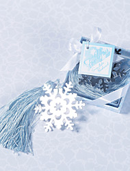 Silver Finish Snowflake Bookmark With Ice Blue Tassel