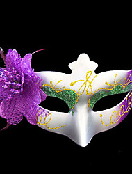 Fabric Flower Purple And Green Plastic Half-face Mask