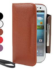 PU Funda de cuero con monedero y ranura para tarjeta para Samsung I9300 Galaxy S3 (colores surtidos)