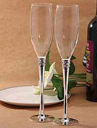 Crystal Steamed Silver Plated Toasting Flutes