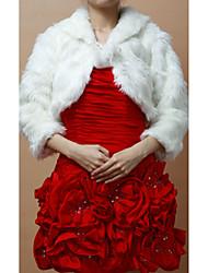 Pretty Faux Fur Long Sleeve Wedding/Evening Evening Jacket Bolero Shrug