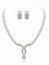 magnifiques cristaux clairs avec une imitation de mariage de perles bijoux de mariage mis, y compris le collier et boucles d'oreilles