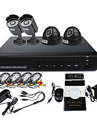 Surveillance Security System mit 2 Außen-und 2 Indoor Nachtsicht-Kamera (4Ch Full D1, H.264)
