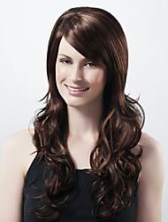 capless extra longa sintética escura do café europeu peruca de cabelo tecem