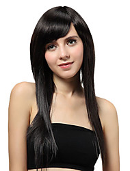 Capless Long Black Straight Synthetic Wigs