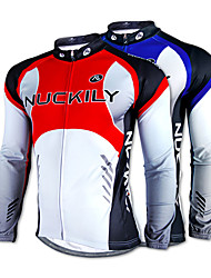 NUCKILY-100% Polyester Long-Sleeve Cycling Jersey with Fleece Side (Red/Blue)