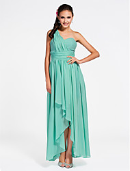 Lanting Ankle-length / Asymmetrical Chiffon Bridesmaid Dress - Jade Plus Sizes / Petite Sheath/Column One Shoulder / Sweetheart