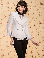 TS VINTAGE Double Breast Ruffle Blazer
