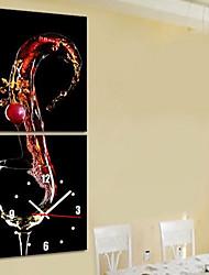style moderne le thème du vin horloge murale en série de 2 toile