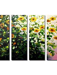 Met de hand geschilderd olieverf Bloemen Extra grote Breed Set van 4