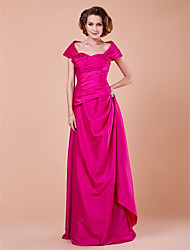Sheath/Column Plus Sizes / Petite Mother of the Bride Dress - Fuchsia Floor-length Short Sleeve Taffeta