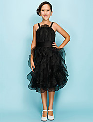 Knee-length Organza Junior Bridesmaid Dress - Black Ball Gown / A-line Spaghetti Straps