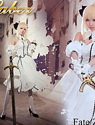 Fate / noche Estancia Saber traje blanco traje de cosplay
