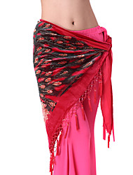 Belly Dance Belt Women's Training Cotton Sequins / Tassel(s) Black / Red Belly Dance / Performance Spring, Fall, Winter, Summer Natural