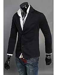 Blazer Pour des hommes Couleur plaine Travail Polyester / Mélange de Coton Manches longues Noir / Gris