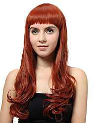 Capless Long Auburn Curly Synthetic Wigs
