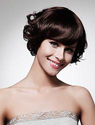 capless queixo comprimento natureza sintética de alta qualidade olhar peruca de cabelo castanho escuro encaracolado (0463-lpp490)
