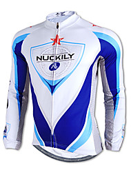 NUCKILY-100% Polyester Long-Sleeve Cycling Jersey with Fleece Side (Blue and White)