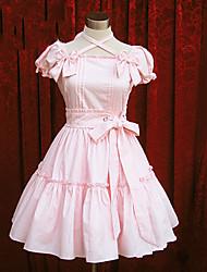 Un Pezzo/Vestiti Dolce Lolita Cosplay Vestiti Lolita Rosa Blu Tinta unita Manica corta Lunghezza media Abito Per Cotone