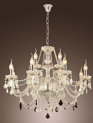 Max 40W Chandelier ,  Rustic/Lodge Electroplated Feature for Crystal Glass Living Room / Dining Room