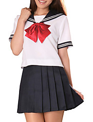 Sexy Cool Ink Blue and White Polyester School Uniform (2 Pieces)